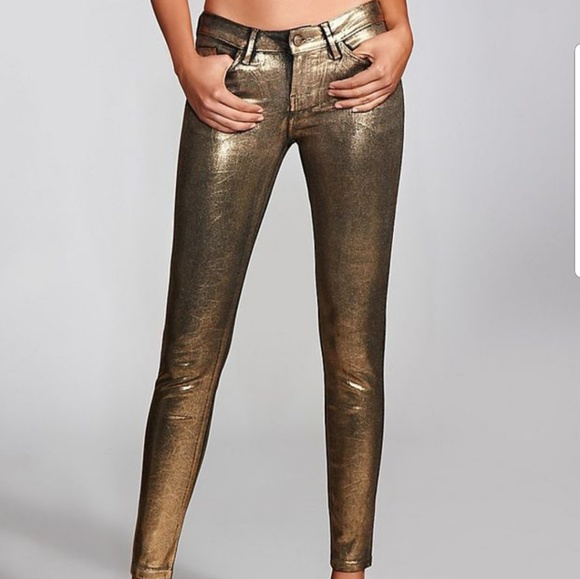6eb1e29ebc3fb Guess Pants | Brittney Gold Foil Legging Size 23 | Poshmark
